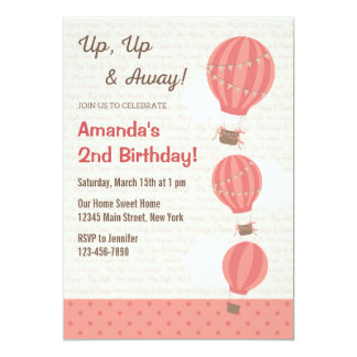 Hot Air Balloon Birthday Invitation (Pink)