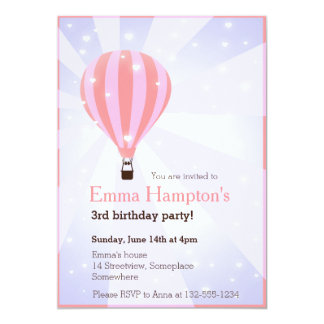 Hot air balloon birthday party pink purple hearts 5x7 paper invitation card