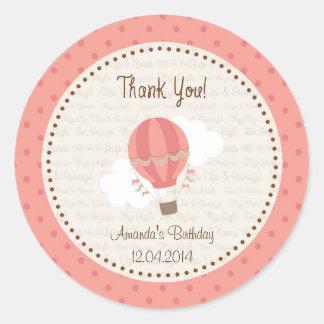 Hot Air Balloon Birthday Sticker Pink