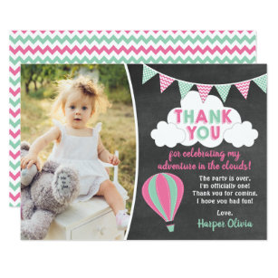Hot Air Balloon Birthday Thank You Card with Photo Editable Hot Air Balloon Thank You Cards Hot Air Balloon Party Thank You Notes