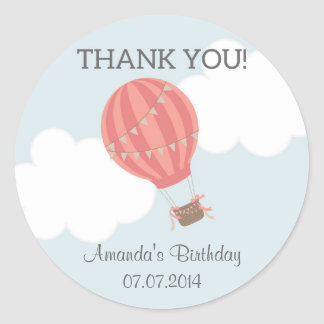 Hot Air Balloon Birthday Thank You Stickers