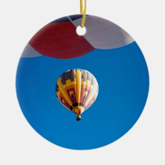 Hot Air Balloon Blue Sky Albuquerque New Mexico Double-Sided Ceramic Round Christmas Ornament