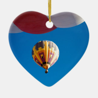 Hot Air Balloon Blue Sky Albuquerque New Mexico Double-Sided Heart Ceramic Christmas Ornament