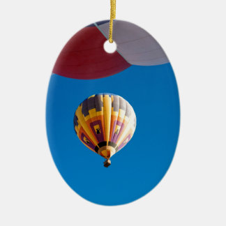 Hot Air Balloon Blue Sky Albuquerque New Mexico Double-Sided Oval Ceramic Christmas Ornament