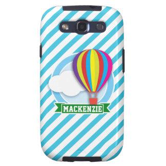 Hot Air Balloon; Blue & White Stripes Galaxy S3 Cover