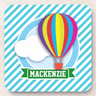 Hot Air Balloon; Blue & White Stripes Drink Coaster