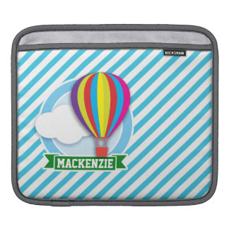 Hot Air Balloon; Blue & White Stripes Sleeves For iPads