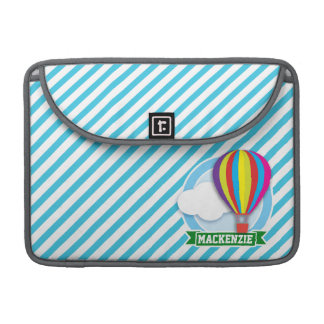 Hot Air Balloon; Blue & White Stripes Sleeve For MacBook Pro