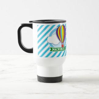 Hot Air Balloon; Blue & White Stripes Mugs