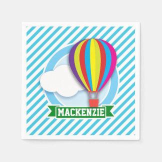 Hot Air Balloon; Blue & White Stripes Disposable Napkins
