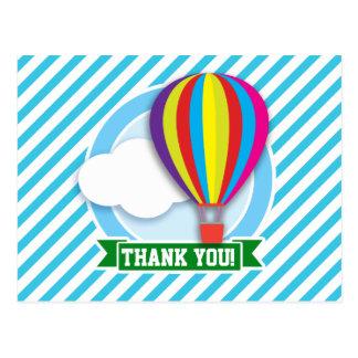 Hot Air Balloon; Blue & White Stripes Postcard