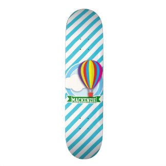 Hot Air Balloon; Blue & White Stripes Skateboard