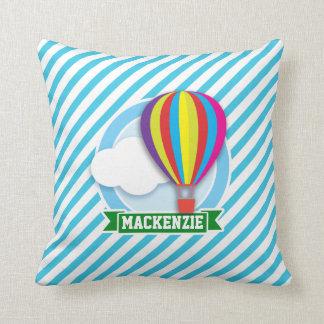 Hot Air Balloon; Blue & White Stripes Throw Pillow