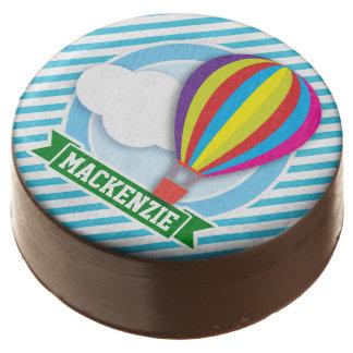 Hot Air Balloon; Blue & White Stripes Chocolate Covered Oreo