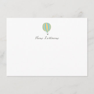 Hot Air Balloon Blue Yellow Custom Stationery Note Card