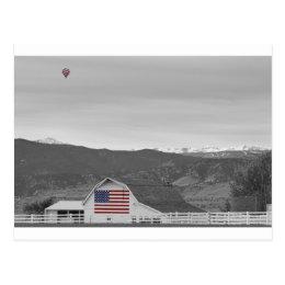 Hot Air Balloon Boulder Flag Barn and Eldora BWSC Postcard