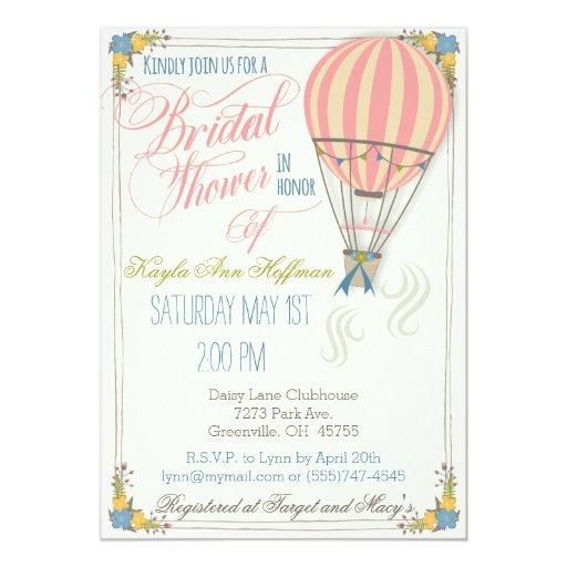 Hot Air Balloon Bridal Shower Invitation. Card | Zazzle