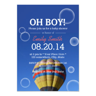 Hot Air Balloon & Bubbles Baby Shower Invitations