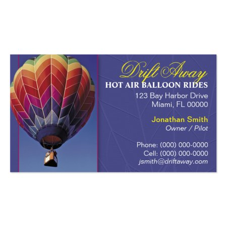 Purple Background Colorful Chevron Zigzag Pattern Hot Air Balloon Business Cards