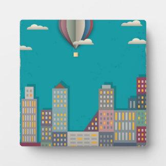 Hot Air Balloon Cityscape Display Plaque