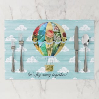 Hot Air Balloon Clouds Tearaway Placemat