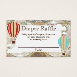 Hot Air Balloon & Clouds World Map Diaper Raffle Business Card