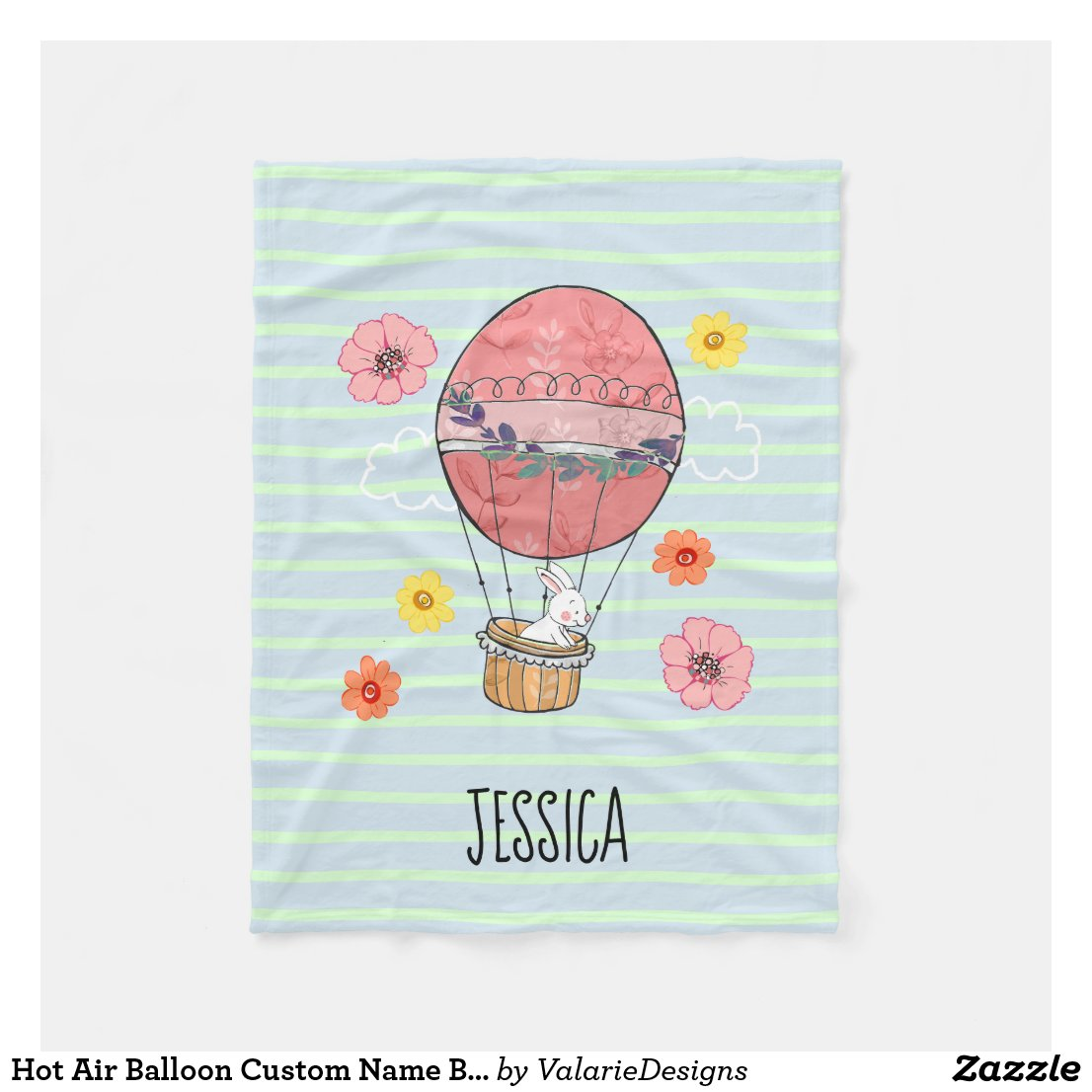 Hot Air Balloon Custom Name Blanket