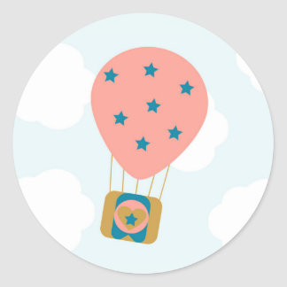 Hot Air Balloon Dreams round stickers