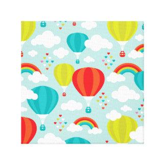 Hot air balloon dreamy rainbow sky canvas print