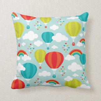 Hot air balloon dreamy rainbow sky throw pillow