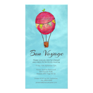 Hot Air Balloon Farewell Bon Voyage Party invite Photo Card