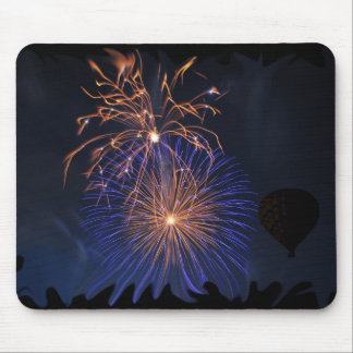 hot air balloon fireworks mouse pad