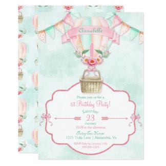 Hot Air Balloon First Birthday Pink Mint Peach Card