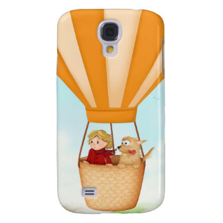 Hot air balloon girl and dog samsung galaxy s4 cover