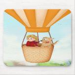 Hot air balloon girl and dog mousepad