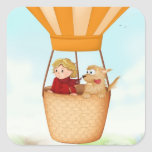 Hot air balloon girl and dog stickers