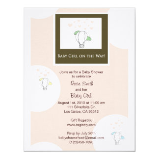 Hot Air Balloon Girl Baby Shower Invitation in Pin