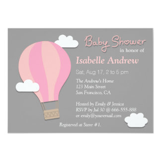 Hot Air Balloon, Girl Baby Shower Party, Grey 4.5x6.25 Paper Invitation Card