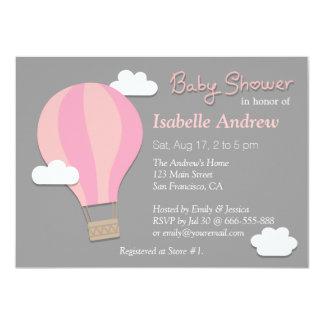 Hot Air Balloon, Girl Baby Shower Party, Grey Card