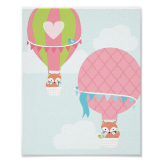Hot Air Balloon Girl Nursery Art Poster