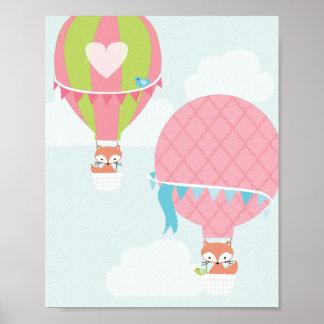 Hot Air Balloon Girl Nursery Art Poster