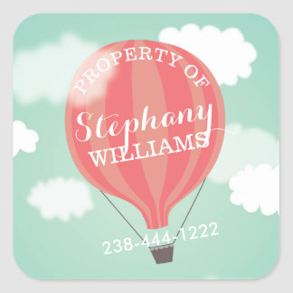 Hot Air Balloon Girl Property Of Name Stickers