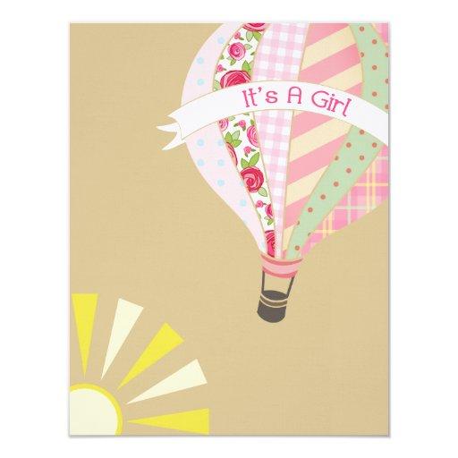 hot air balloon girly baby shower invitation x 5 5 invitatio