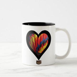 hot air balloon heart Two-Tone coffee mug