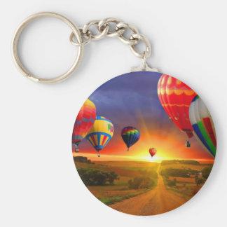 hot air balloon image basic round button keychain