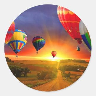 hot air balloon image classic round sticker