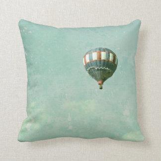 Hot Air Balloon in Robin's Egg Blue Sky Pillow