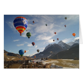 hot air balloon in Switzerland Card
