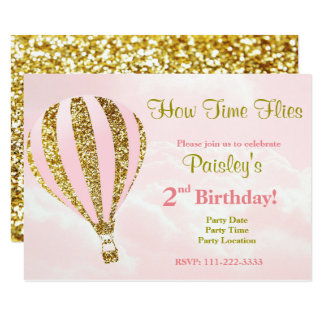 Hot air balloon invitation in pink and gold