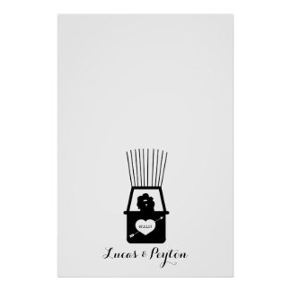 Hot Air Balloon Kiss Thumbprint Wedding Guestbook